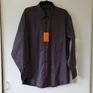 Ben Sherman Brown & Light Blue Striped Shirt Large